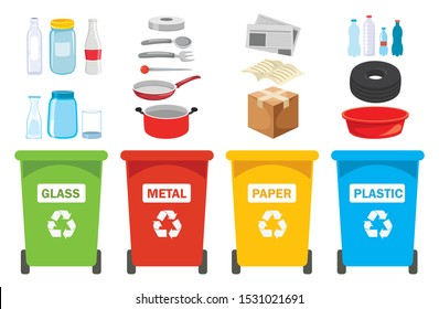 Recycle Bins For Plastic, Metal, Paper And Glass