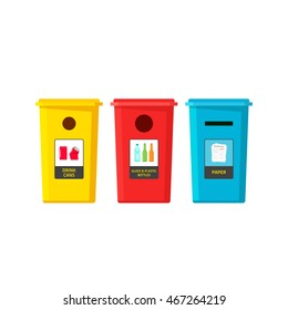 Recycle bins vector isolated on white, flat cartoon recycling trash containers for separate type of garbage