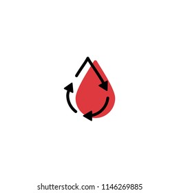 recycle blood drop donor circulation logo icon vector line outline monoline color fill style