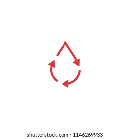 recycle blood drop donor circulation logo icon vector line outline monoline