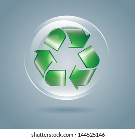 recycle bubble over gray background vector illustration
