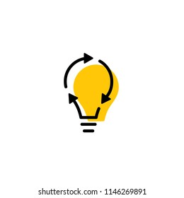 recycle bulb lamp energy logo icon line outline monoline color fill style