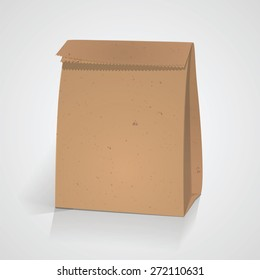 Recycle craft paper bag. Brown color. For design of coffee, food, breakfast  package. Vector, EPS 10