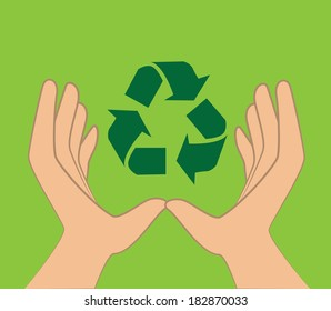 Recycle design over green background, vector illustration