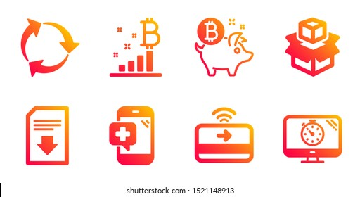 Recycle, Download file and Contactless payment line icons set. Bitcoin coin, Bitcoin graph and Packing boxes signs. Medical phone, Seo timer symbols. Recycling waste, Load document. Vector