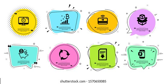 Recycle, Download file and Contactless payment line icons set. Chat bubbles with quotes. Bitcoin coin, Bitcoin graph and Packing boxes signs. Medical phone, Seo timer symbols. Vector