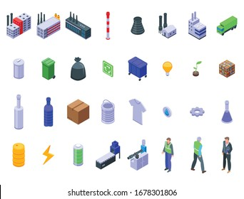 Recycle factory icons set. Isometric set of recycle factory vector icons for web design isolated on white background