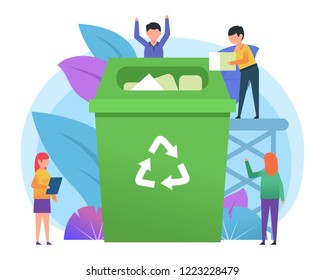 Recycle garbage, save ecology concept. Small people throwing trash into big recycle bin. Poster for web page, social media, banner, presentation. Flat design vector illustration