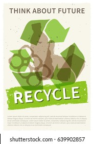 Recycle garbage vector illustration. Plastic and metal rubbish recycling creative poster with sample text. Bottle, can, plastic bag with phrase Think about future graphic design.