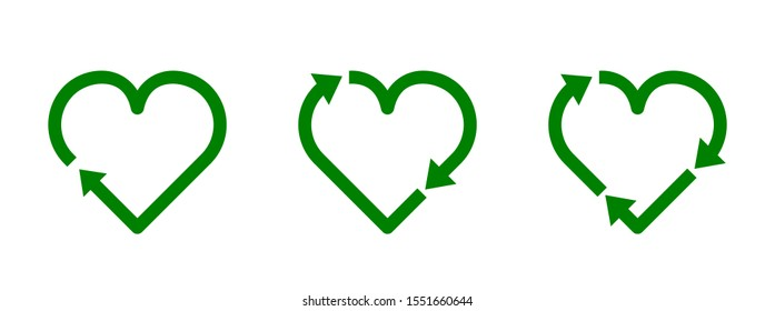 Recycle heart symbol set. Green heart shape recycle icon. Reload sign. Reuse, renew, recycling materials, concept. Eco friendly concept. Love the earth. Conscious consumerism. Vector illustration.