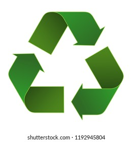 recycle icon 3d with green color, green recycle symbol
