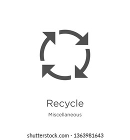 recycle icon. Element of miscellaneous collection for mobile concept and web apps icon. Outline, thin line recycle icon for website design and mobile, app development