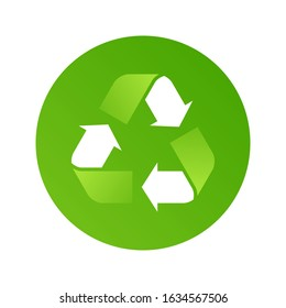 Recycle icon. Green recycle arrow symbol. Recycling materials sign. Recycled logo, sign. Vector illustration