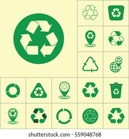 recycle icon on yellow background, recycling set