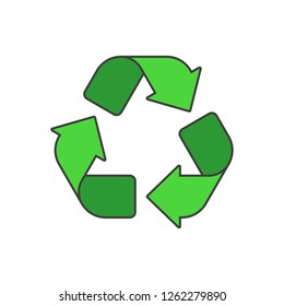 Recycle icon. Recycling pictogram isolated on white background. Green and black recycle signs. Flat style. Circle arrow symbol. Vector illustration EPS 10.