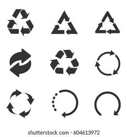 Recycle icon set black on white background
