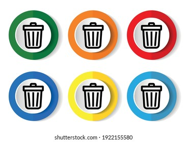 Recycle icon set, colorful buttons in 6 color options for webdesign and mobile applications