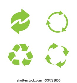 Recycle icon set green on white background