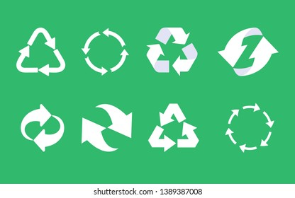 Recycle icon set. Recycled eco icon. Recycled cycle arrows icon set