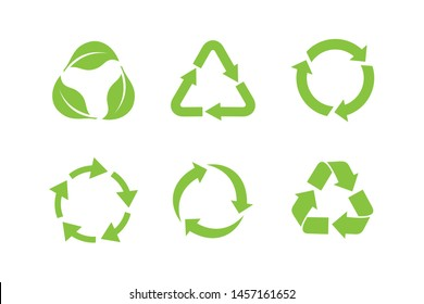 Recycle icon set template color editable. Recycle symbol pack vector sign isolated on white background. Simple logo vector illustration for graphic and web design.