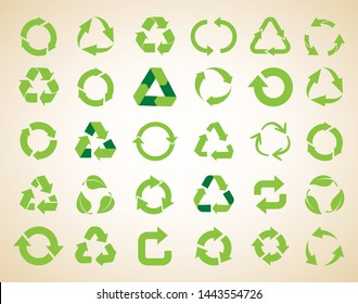 Recycle icon set vector. Recycle Recycling set symbol  illustration. Eps 10 vector.