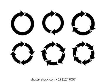 Recycle icon set vector. Rotate circle symbol vector illustration