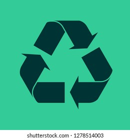 Recycle Icon Symbol Logo on Green Background - Vector