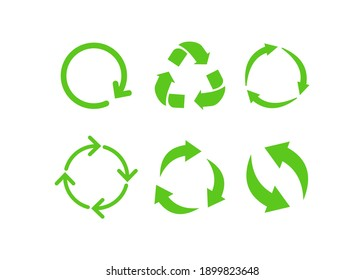 Recycle icon symbol. Recycling and rotation arrow icon pack. Vector - illustration