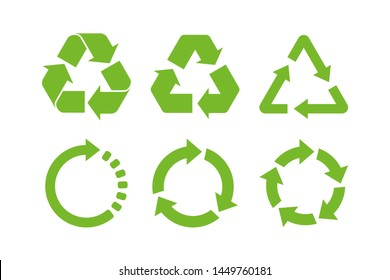 Recycle icon symbol vector. Recycling and rotation arrow icon pack