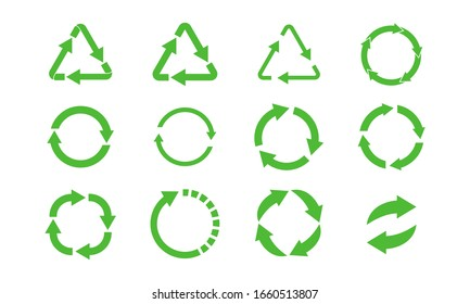 recycle icon symbol vector. recycling illustration, rotation arrow icon set isolated pack