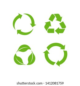 Recycle icon vector on white background. Recycle Recycling set symbol vector