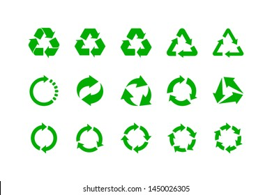 Recycle icon vector. Recycling and rotation arrow symbol collection