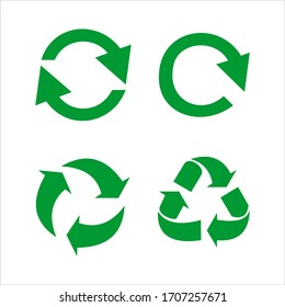 Recycle icon vector sign isolated color editable. Recycle Recycling symbol template for graphic and web design on white background