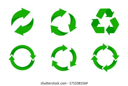 Recycle icon. Recycle vector symbols on white background. Vector illustration