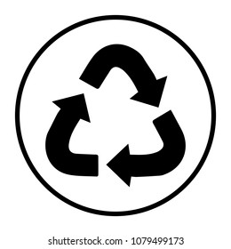 Recycle icon,recycling vector sign isolated on grey background.Simple illustration for web and mobile platforms.
