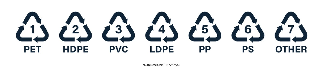 Recycle icons with numbers and letter designations - pet, pete, hdpe, pvc, ldpe, pp, ps, other. Recycling symbols. Vector illustration