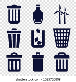 Recycle icons. set of 9 editable filled recycle icons such as trash bin, bottle, delete trash bin