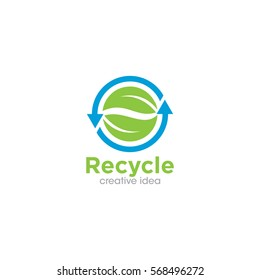 Recycle Leaf Creative Concept Logo Design Template
