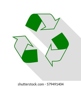 Recycle logo concept. Green icon with flat style shadow path.