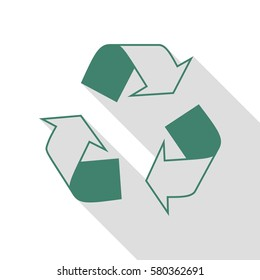 Recycle logo concept. Veridian icon with flat style shadow path.
