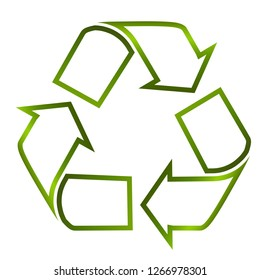 Recycle logo line art green icon recyclable product symbol isolated on white background. Vector illustration