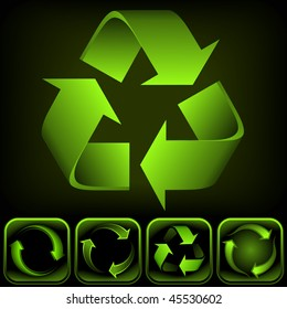 Recycle logo on black background. It's a vector image. Add or remove details or change the black to white background.