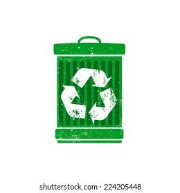 Recycle logo on trashcan, dustbin, vector illustration