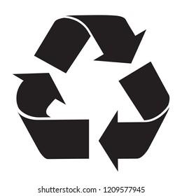 Recycle Logo symbol black and white flat icon isolated on white background. Vector illustration