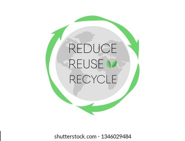 "Recycle logo with text ""Reduce, reuse, recycle"" isolated on white background"