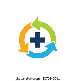 Recycle Medical Logo Icon Design