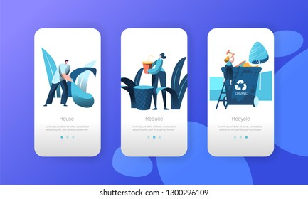 Recycle Organic Garbage Rubbish Bin Mobile App Page Onboard Screen Set. People Reuse Plastic to Reduce Environmental Pollution Concept for Website or Web Page. Flat Cartoon Vector Illustration