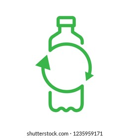 Recycle plastic bottle. Line vector. Isolate on white background.
