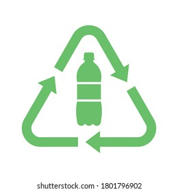 Recycle plastic logo icon, Arrows pet bottle shape recycling sign, Reusable ecological preservation concept, Isolated on white background, Vector illustration