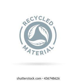 Recycle product material icon. Recycled materials sign with circular leaves symbol. Vector illustration.